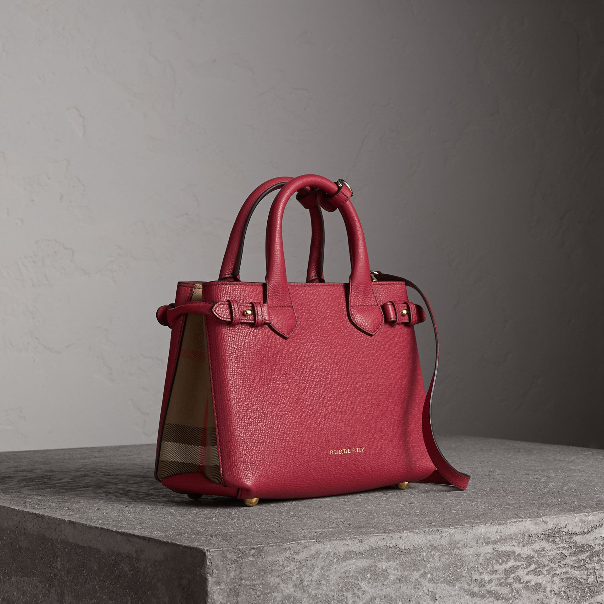 The Small Banner in Leather and House Check in Russet Red - Women | Burberry Hong Kong - gallery image 0