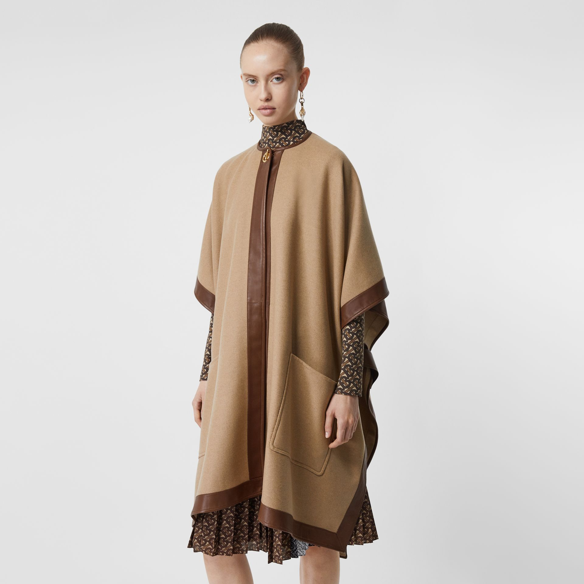 Lambskin Trim Double-faced Cashmere Cape in Camel | Burberry United Kingdom - gallery image 6