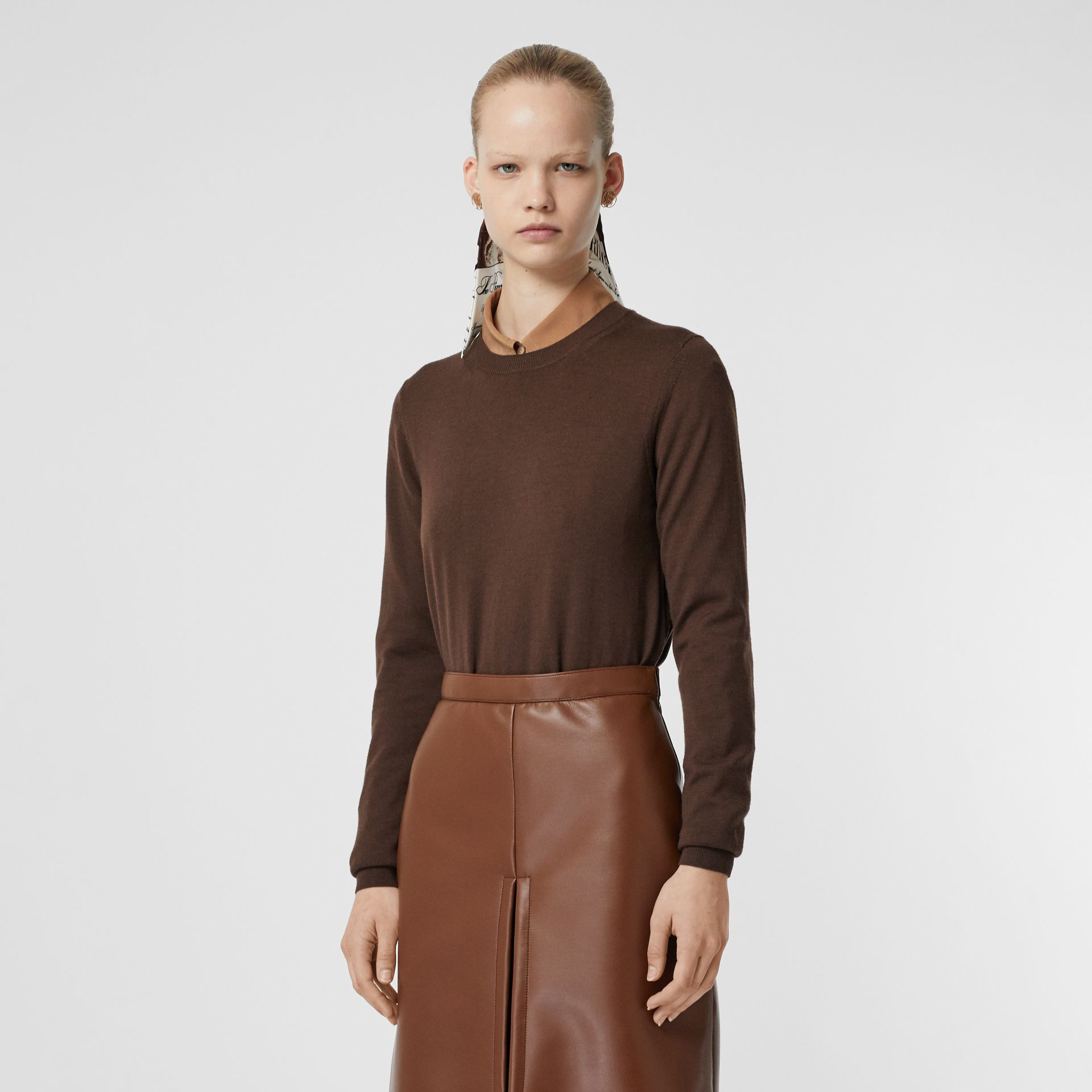 Vintage Check Detail Merino Wool Sweater in Bridle Brown - Women | Burberry Australia - gallery image 4