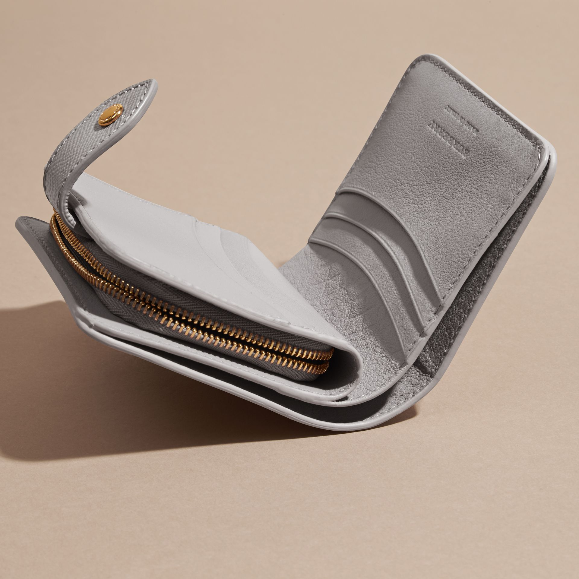 Pale grey Patent London Leather Wallet - gallery image 5