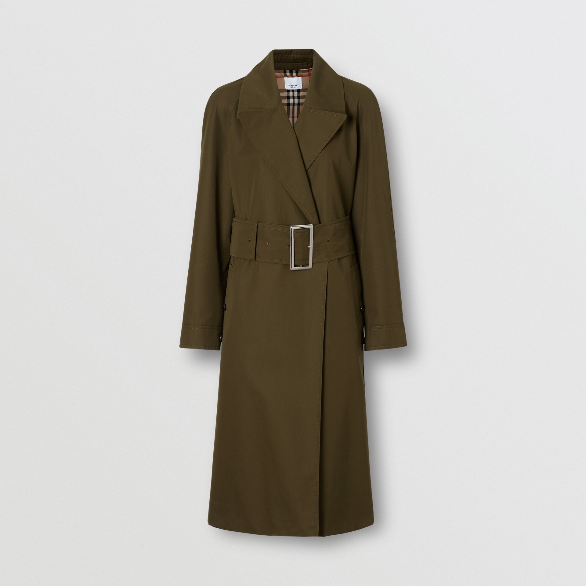 Side-slit Cotton Gabardine Belted Coat in Dark Military Khaki - Women | Burberry - gallery image 3
