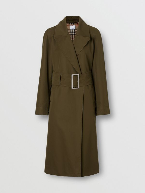 Side-slit Cotton Gabardine Belted Coat in Dark Military Khaki - Women | Burberry - cell image 3