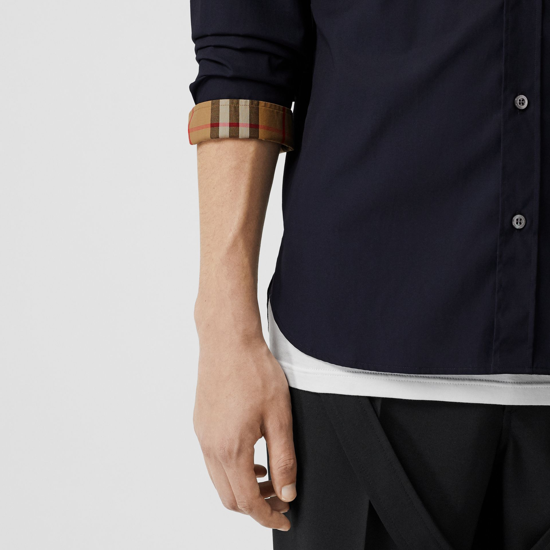 Contrast Button Stretch Cotton Shirt in Navy - Men | Burberry - gallery image 4