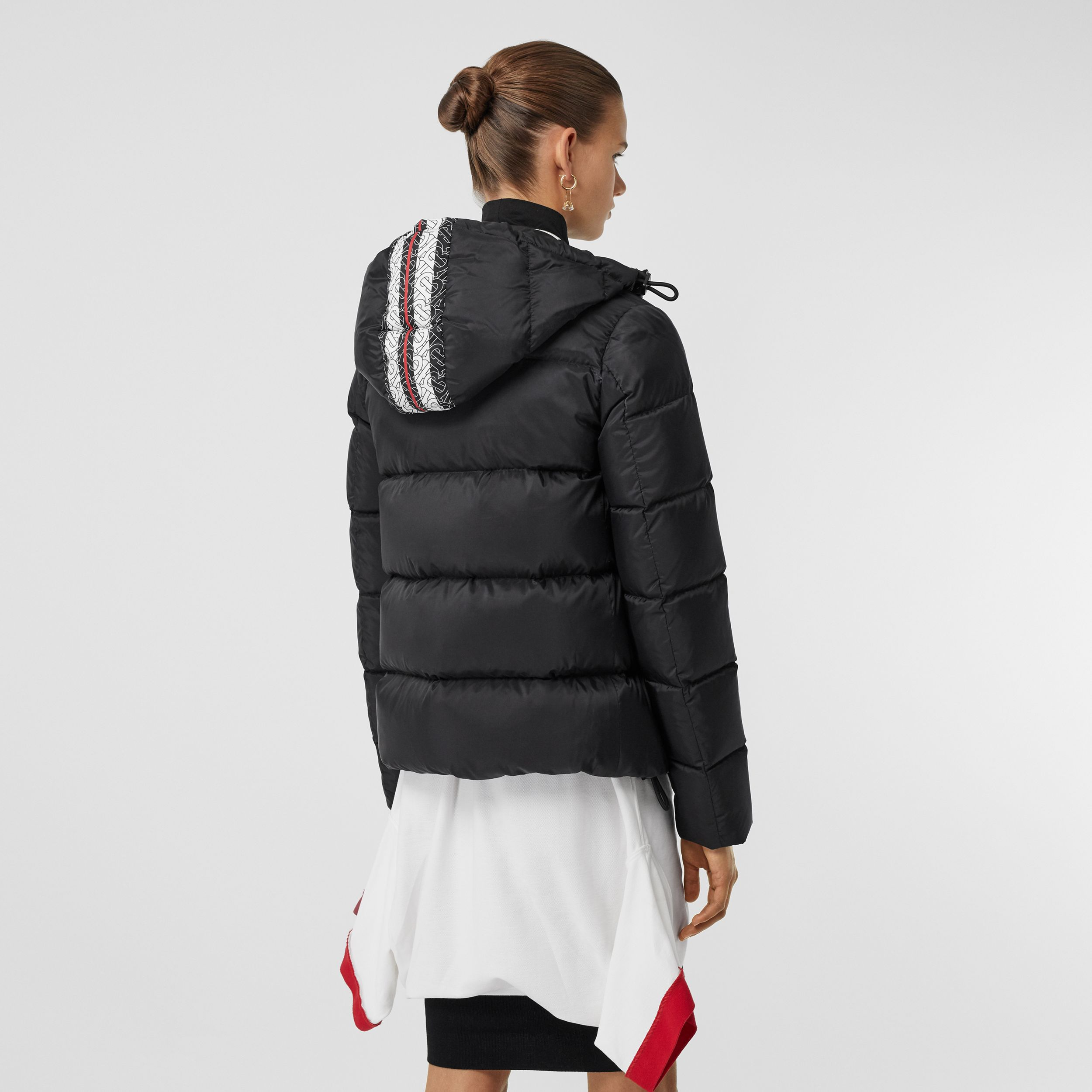 Monogram Stripe Print Hooded Puffer Jacket in Black - Women | Burberry - 3