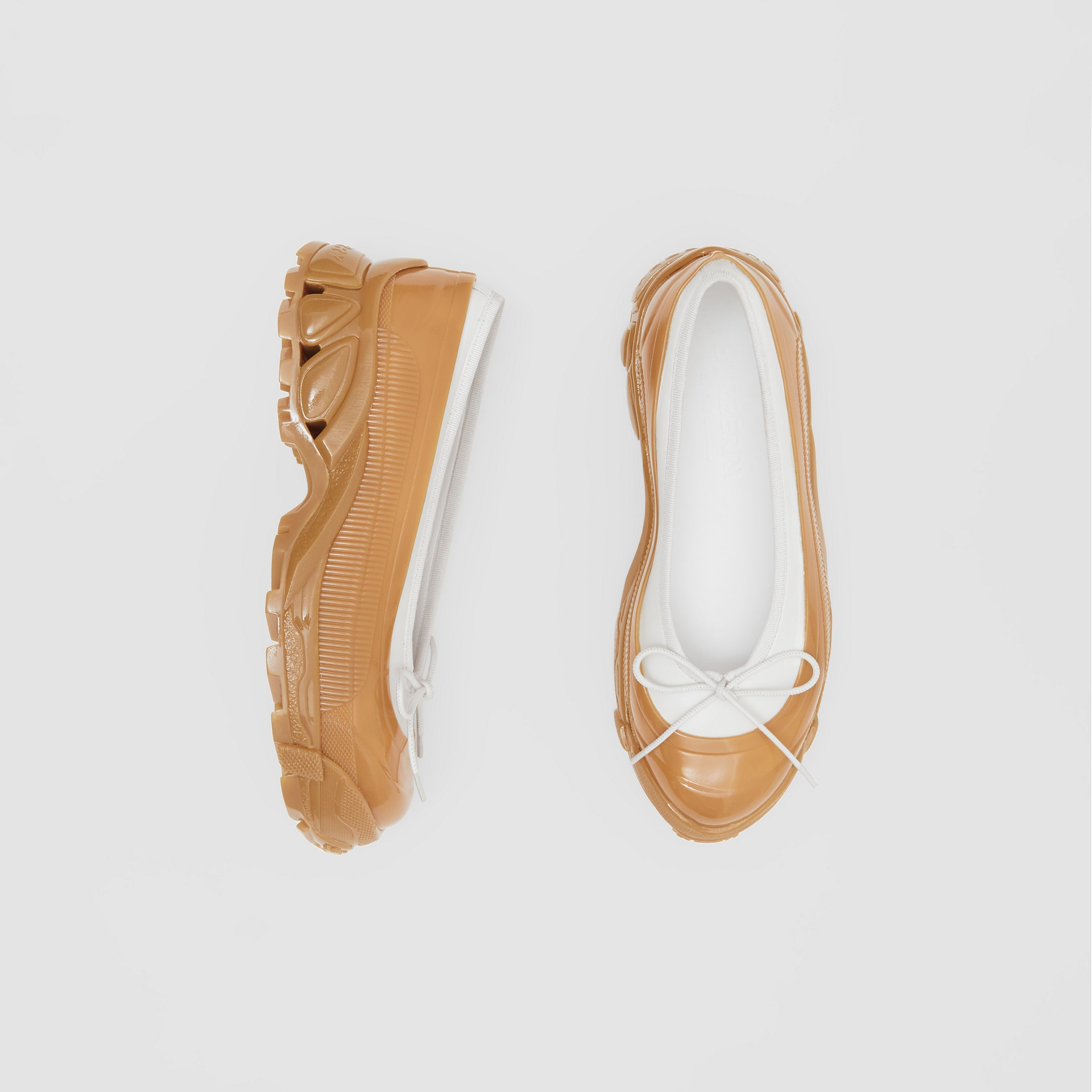 Overshoe Detail Lambskin Flats in White/amber - Women | Burberry - 1