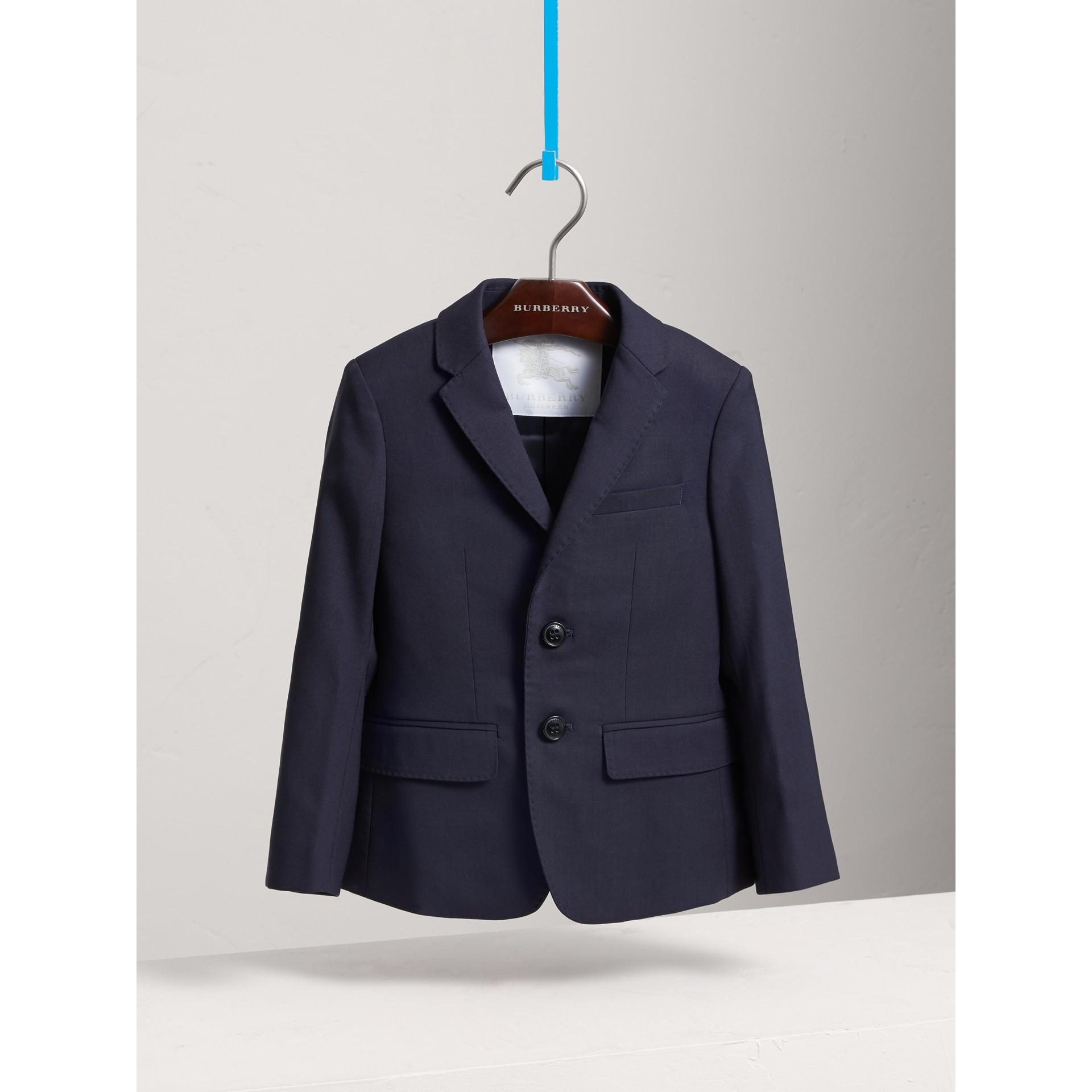 Single-breasted Wool Blazer in Navy - Boy | Burberry Canada - gallery image 3