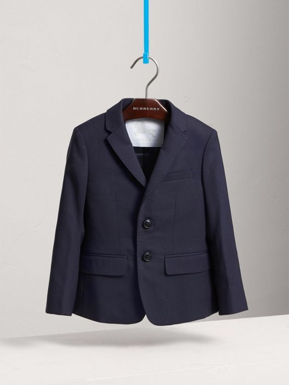 Single-breasted Wool Blazer in Navy - Boy | Burberry Canada - cell image 2
