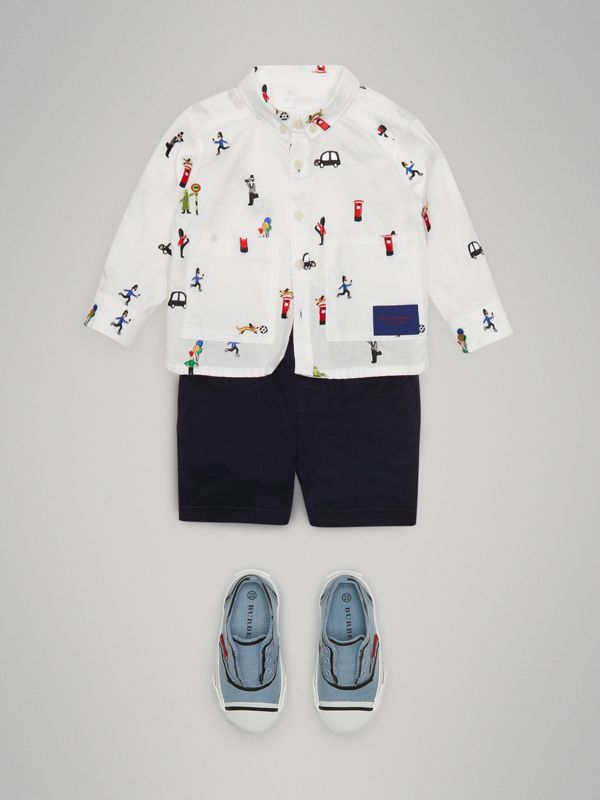 Cotton Twill Shorts in Ink - Children | Burberry - cell image 2
