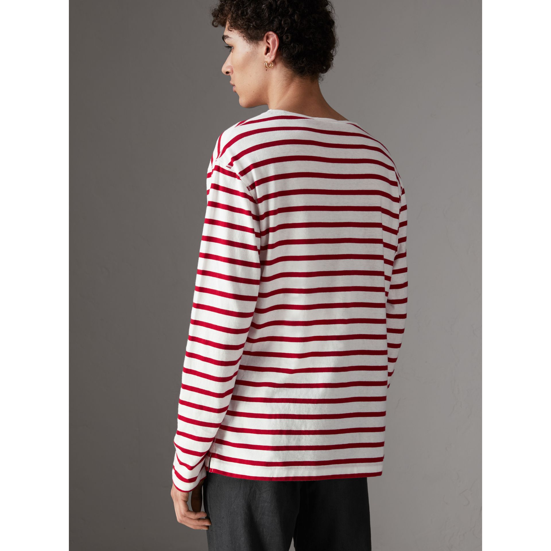 Breton Stripe Cotton Jersey Top in Red/white - Men | Burberry - gallery image 2
