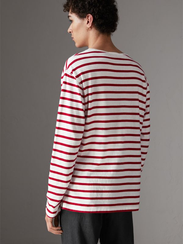Breton Stripe Cotton Jersey Top in Red/white - Men | Burberry United Kingdom - cell image 2