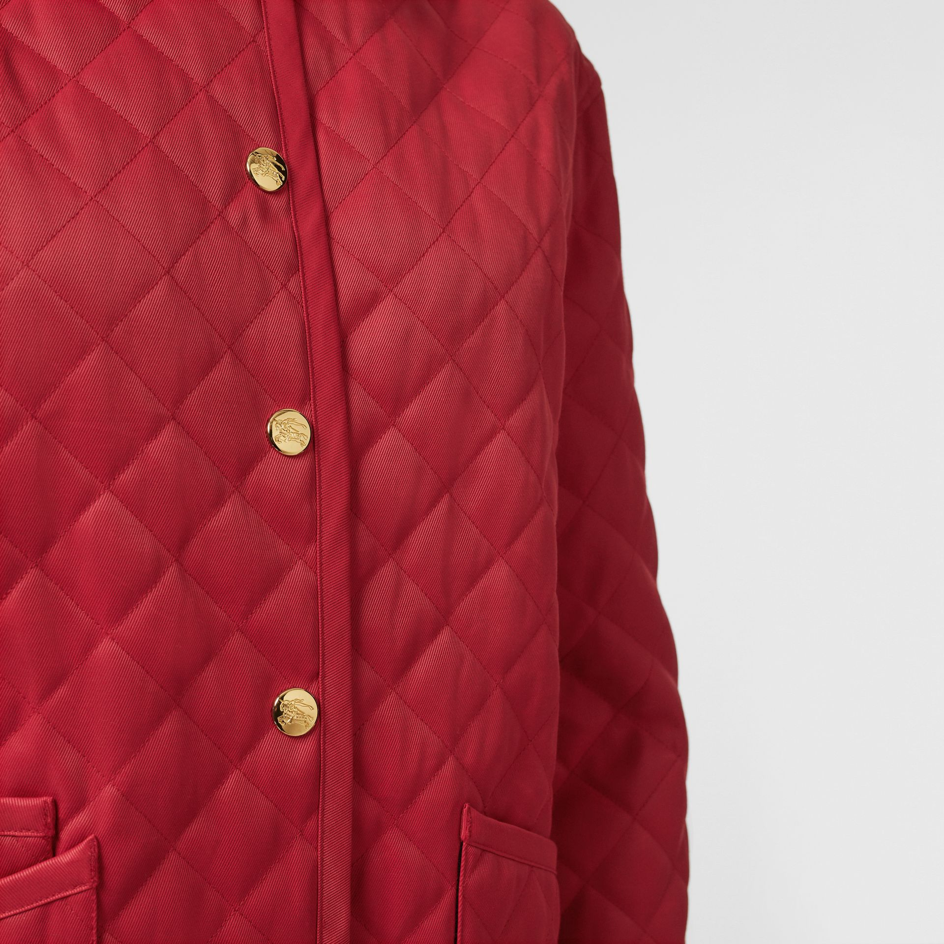 Diamond Quilted Barn Jacket in Red - Women | Burberry - gallery image 4