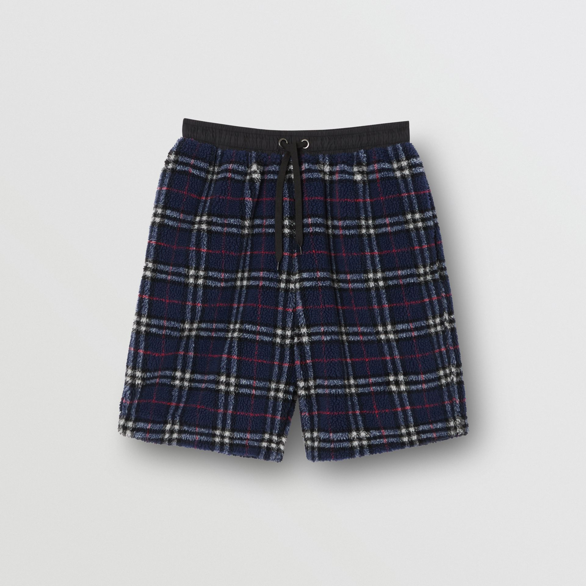 Vintage Check Faux Shearling Drawcord Shorts in Navy - Men | Burberry - gallery image 3