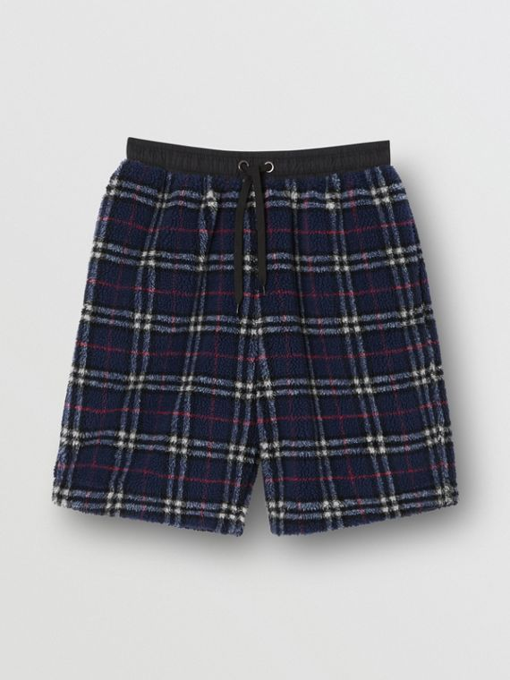 Vintage Check Fleece Drawcord Shorts in Navy