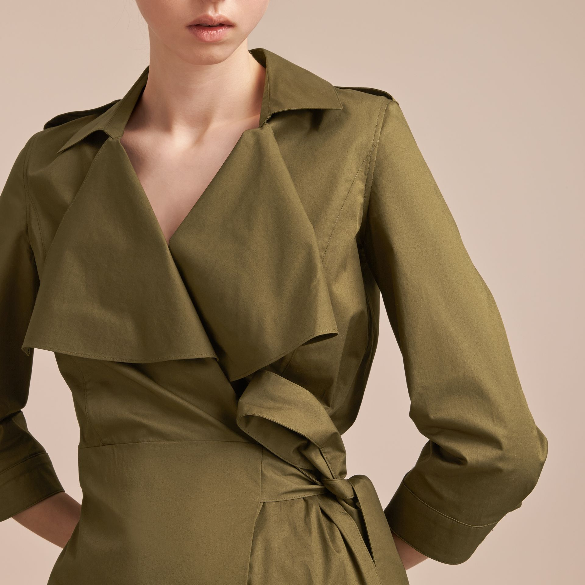 Oversize Lapel Stretch Cotton Trench Dress - gallery image 5