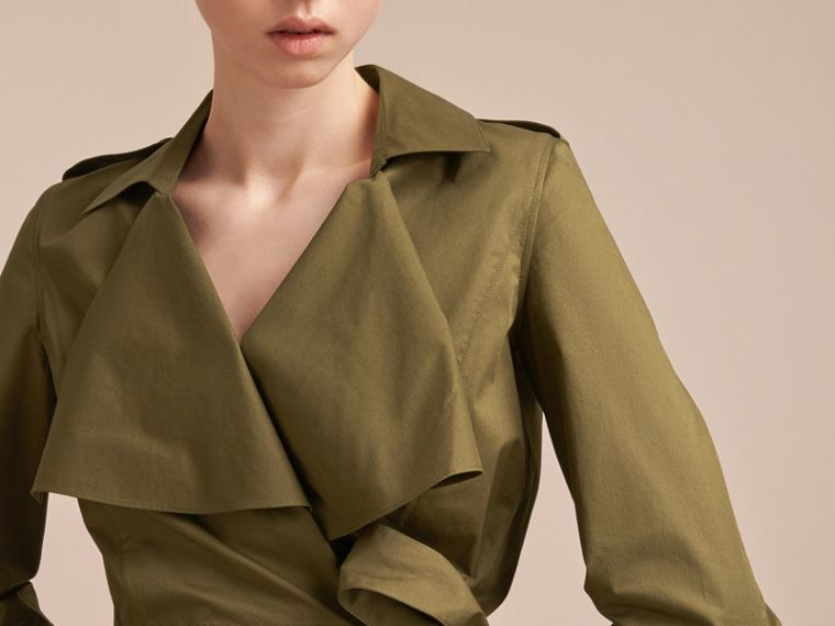 Oversize Lapel Stretch Cotton Trench Dress - cell image 4