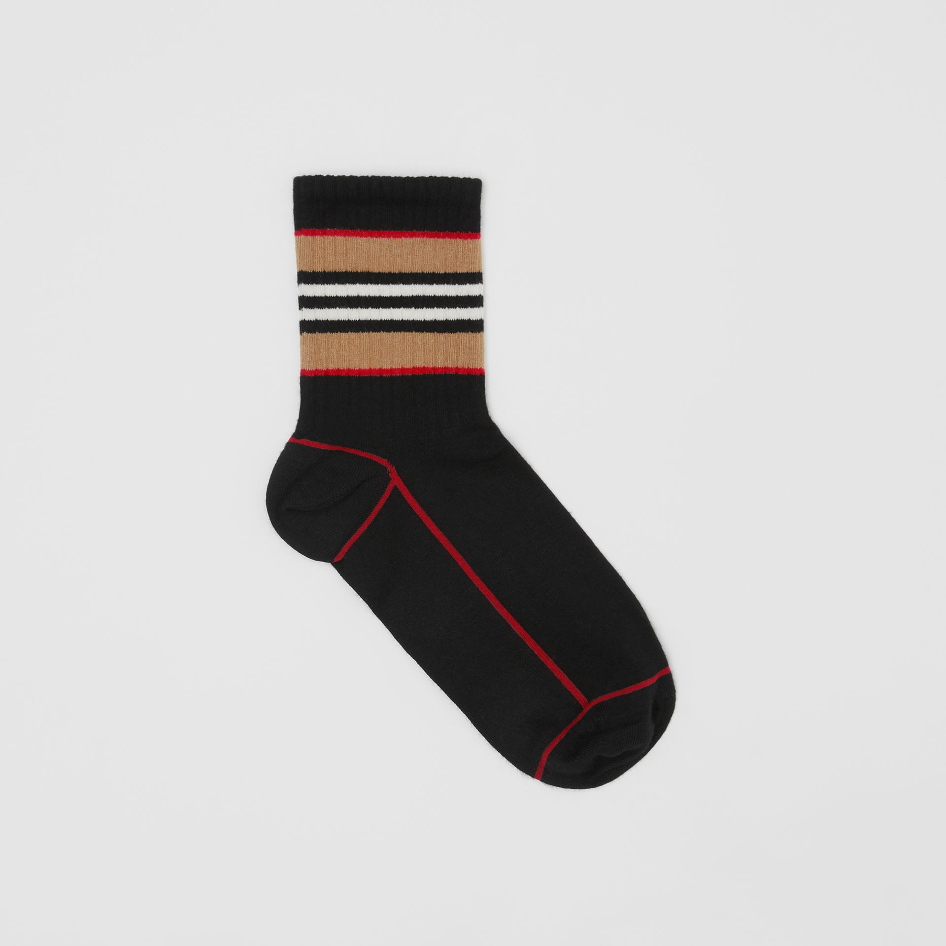 Icon Stripe Intarsia Cotton Blend Ankle Socks in Black | Burberry United States - gallery image 0