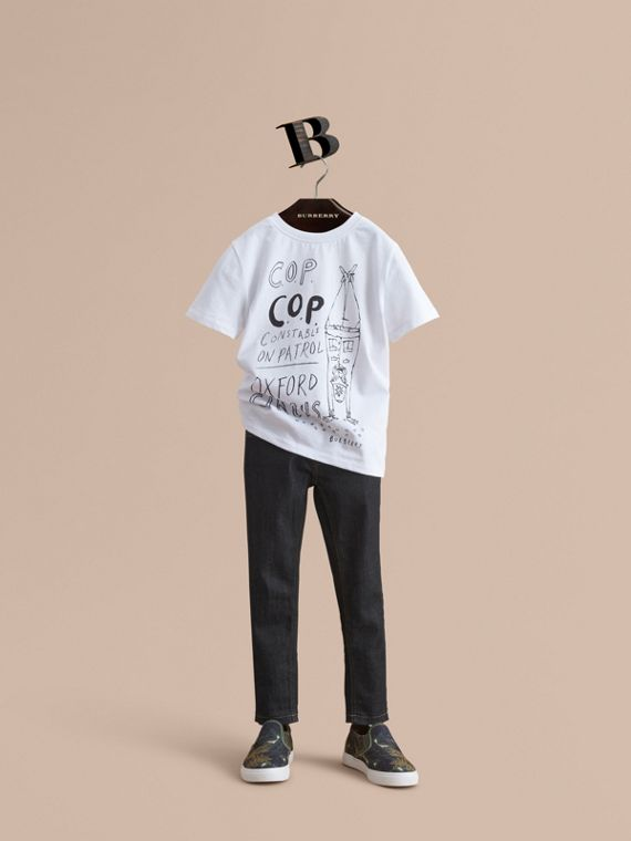 T-shirt in cotone con stampa London Icons - Bambino | Burberry