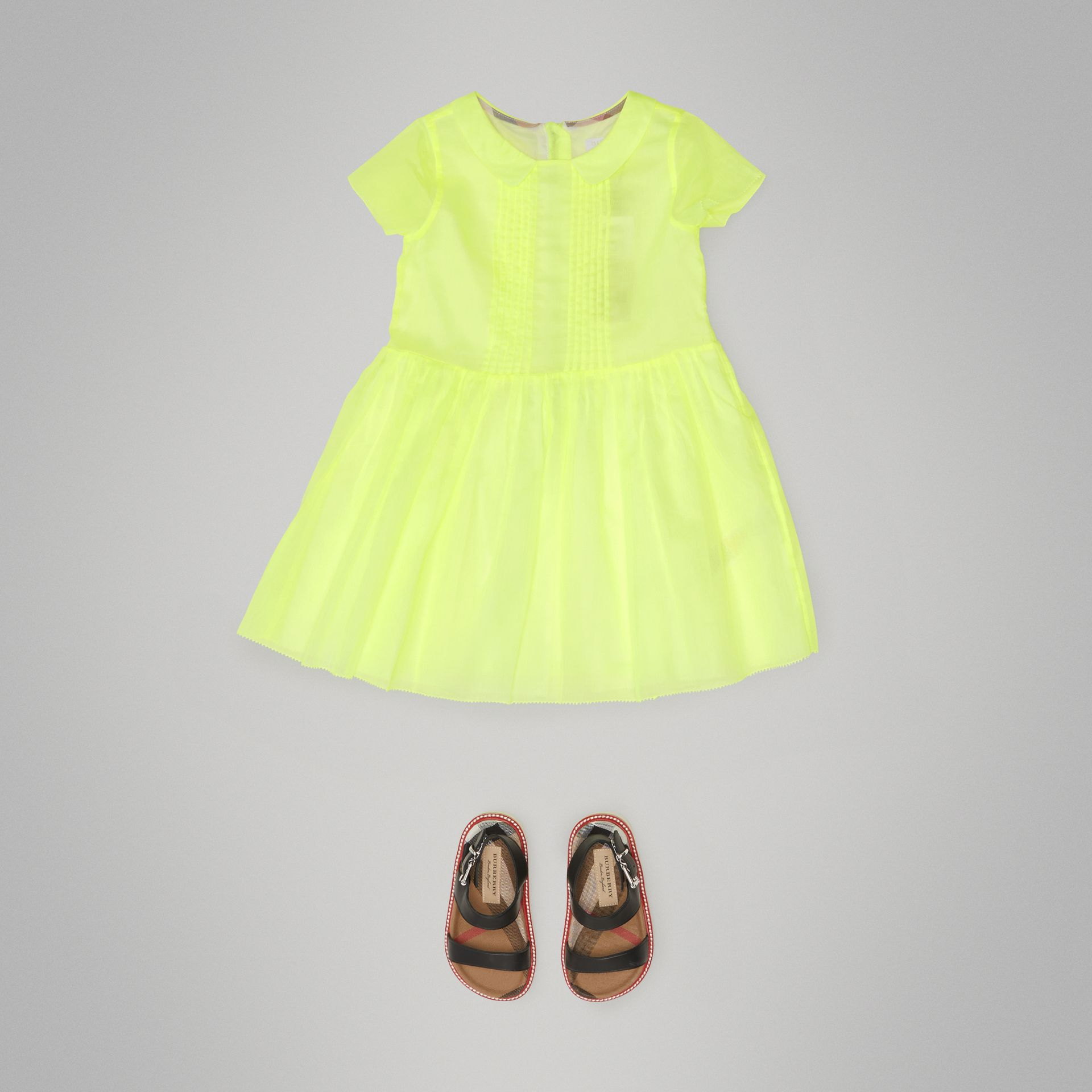 Pintuck Detail Cotton Voile Dress in Neon Yellow - Children | Burberry - gallery image 2