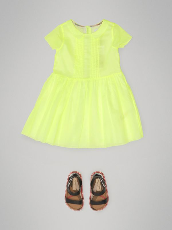Pintuck Detail Cotton Voile Dress in Neon Yellow | Burberry - cell image 2