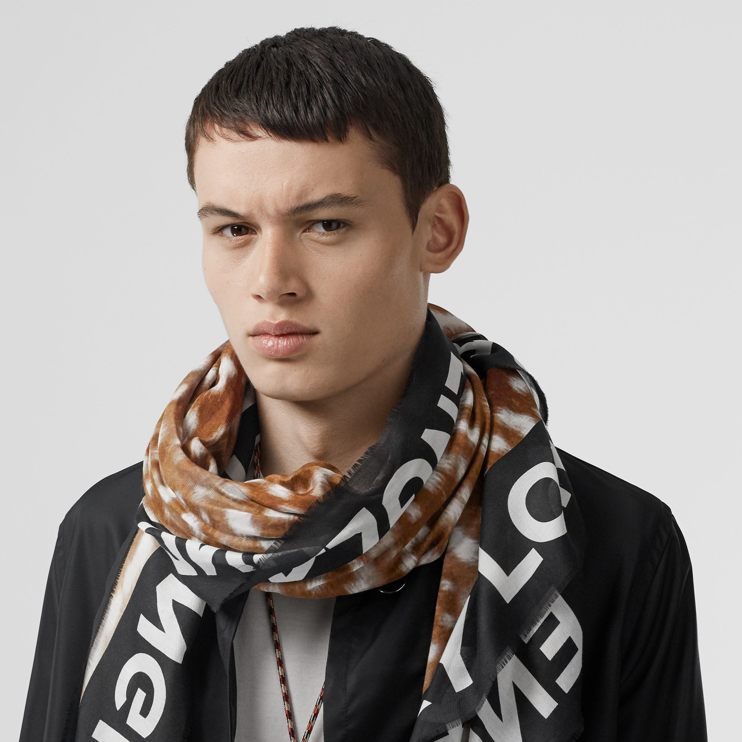 Slogan Deer Print Cotton Silk Large Square Scarf in Brown | Burberry - 4