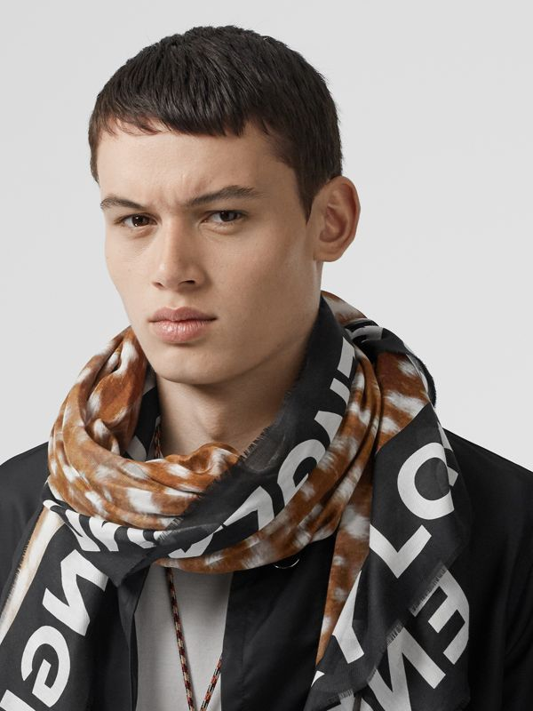 Slogan Deer Print Cotton Silk Large Square Scarf in Brown | Burberry - cell image 3