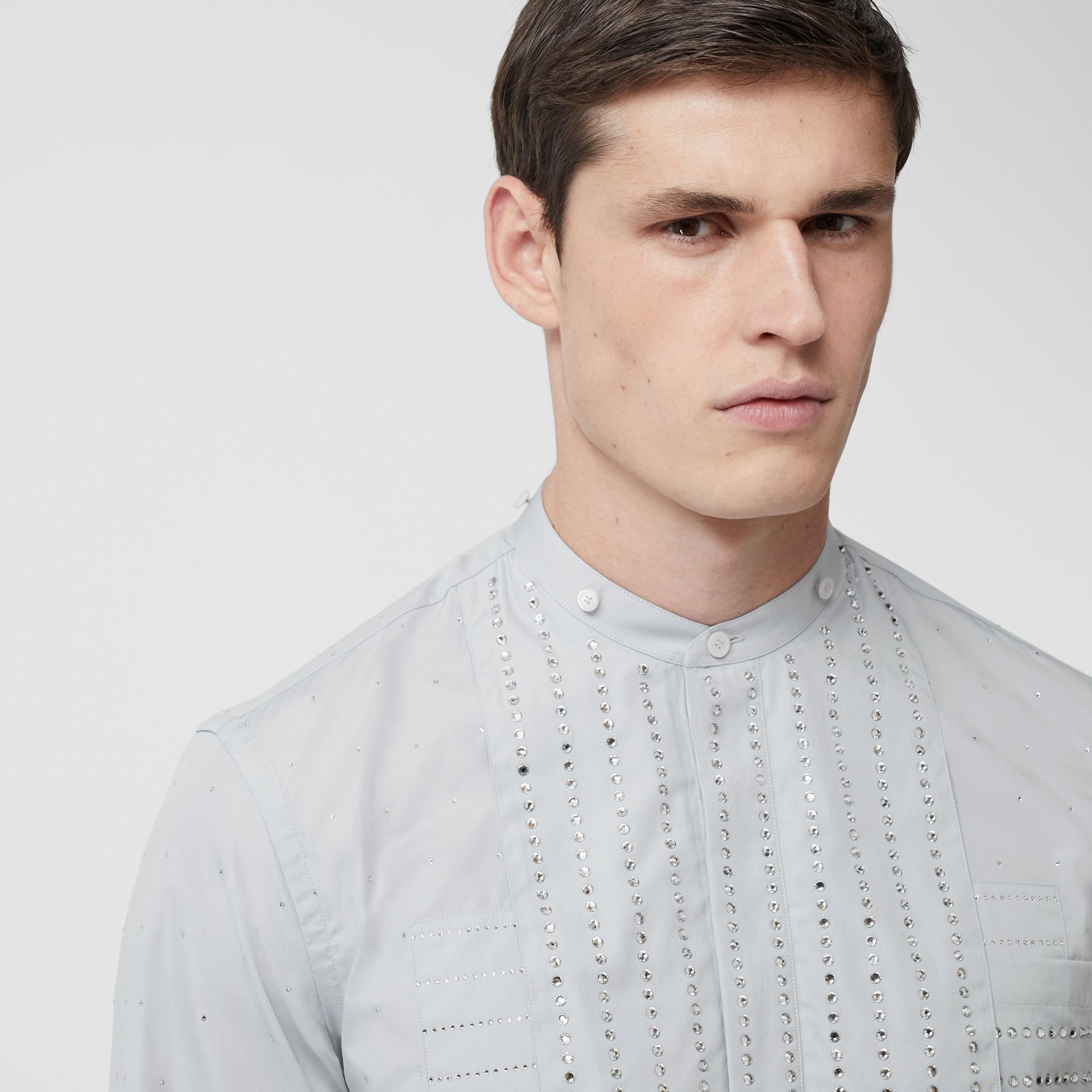 Detachable Collar Crystal Detail Cotton Poplin Shirt in Light Pebble Grey | Burberry Australia - gallery image 1