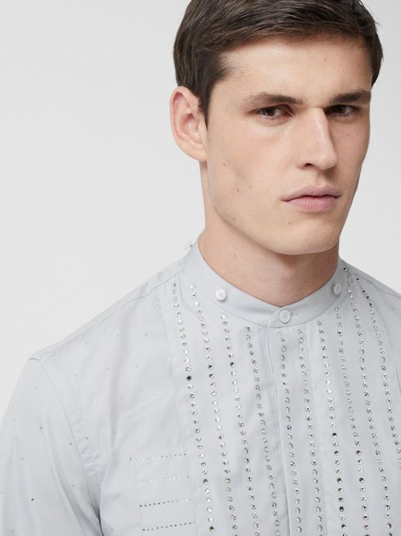 Detachable Collar Crystal Detail Cotton Poplin Shirt in Light Pebble Grey | Burberry Australia - cell image 1