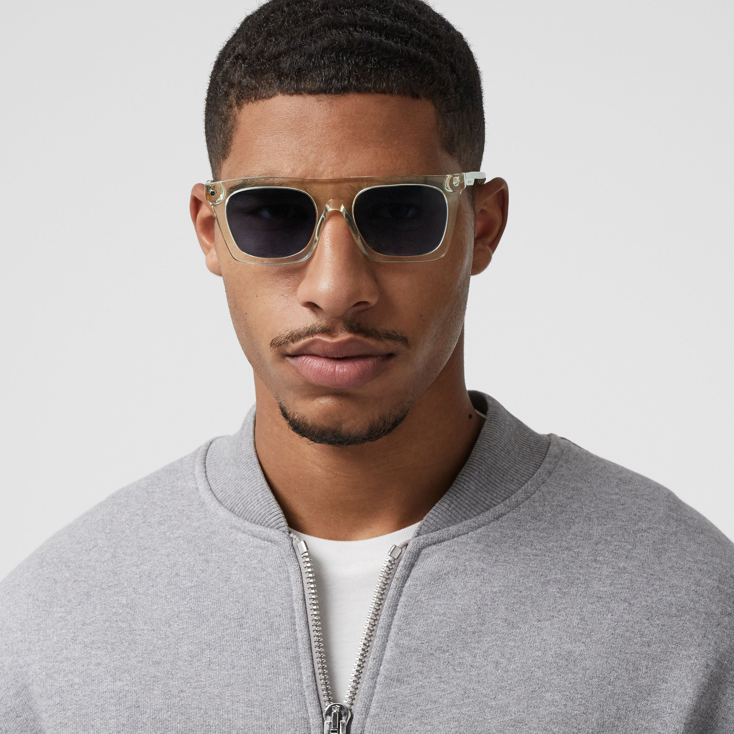 Icon Stripe Detail Rectangular Frame Sunglasses in Pale Yellow - Men | Burberry - 3