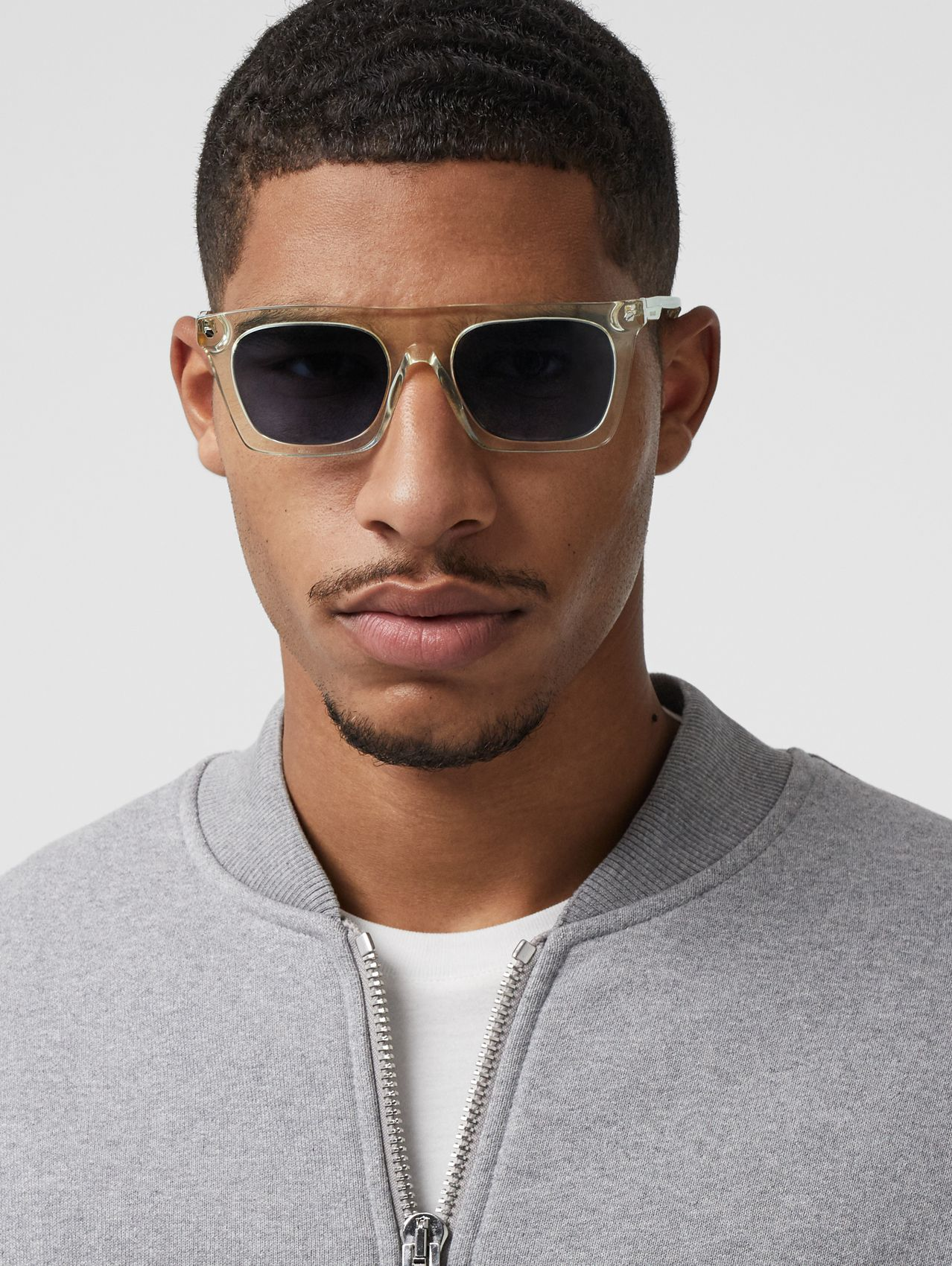 Icon Stripe Detail Rectangular Frame Sunglasses in Pale Yellow