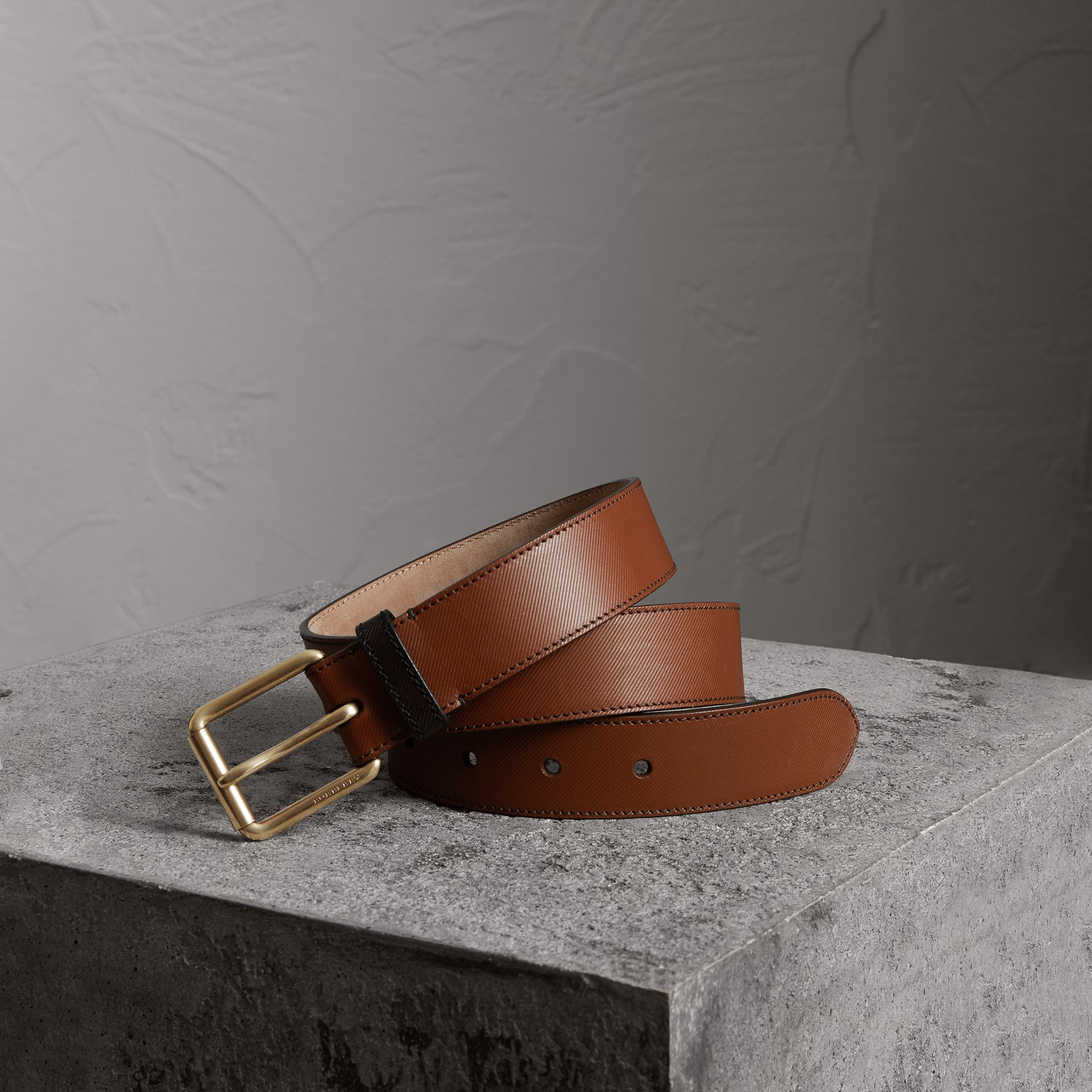 Two-tone Trench Leather Belt in Tan - Men | Burberry - gallery image 0