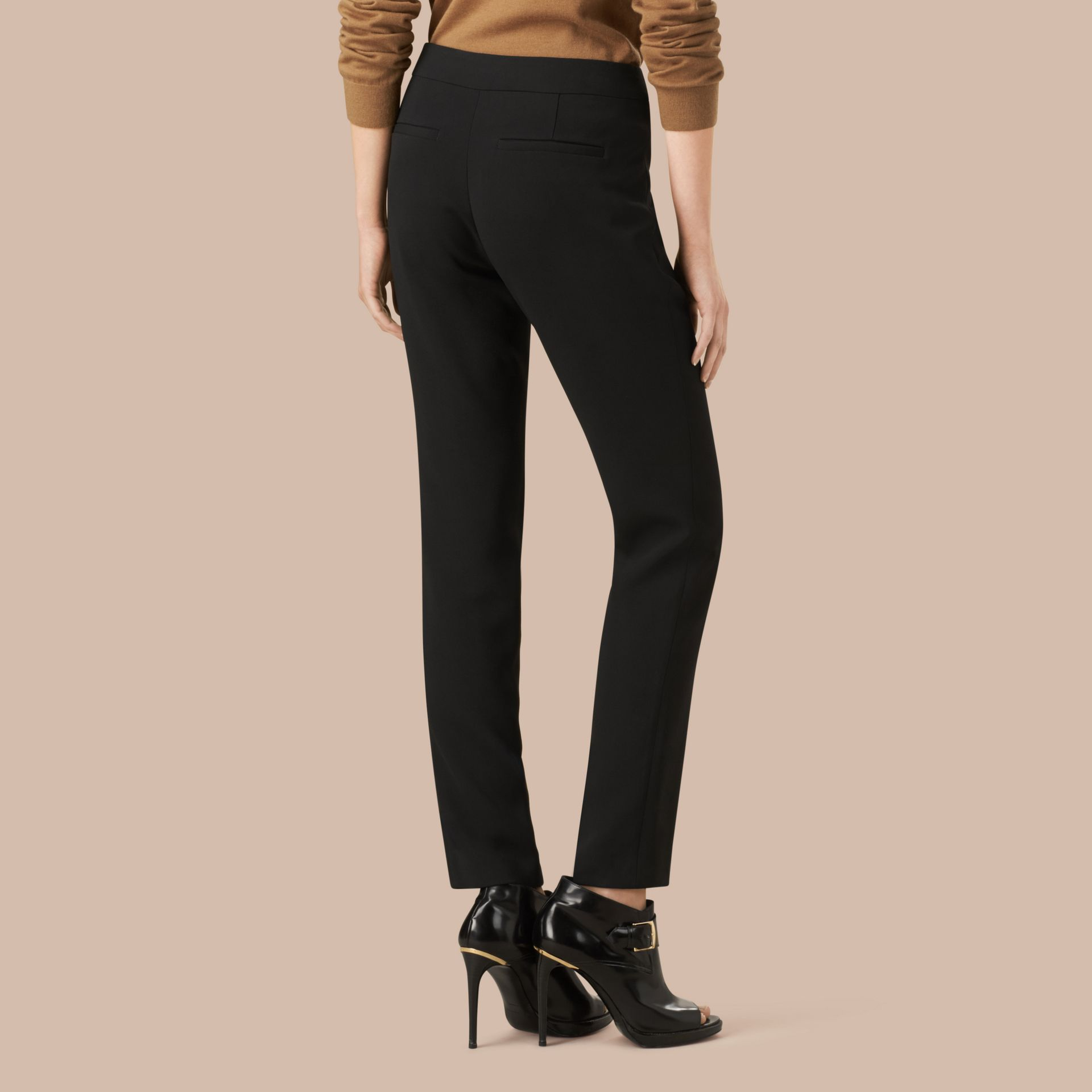 Slim Fit Faille Trousers - Women | Burberry - gallery image 3