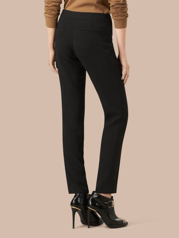 Black Slim Fit Faille Trousers - cell image 2