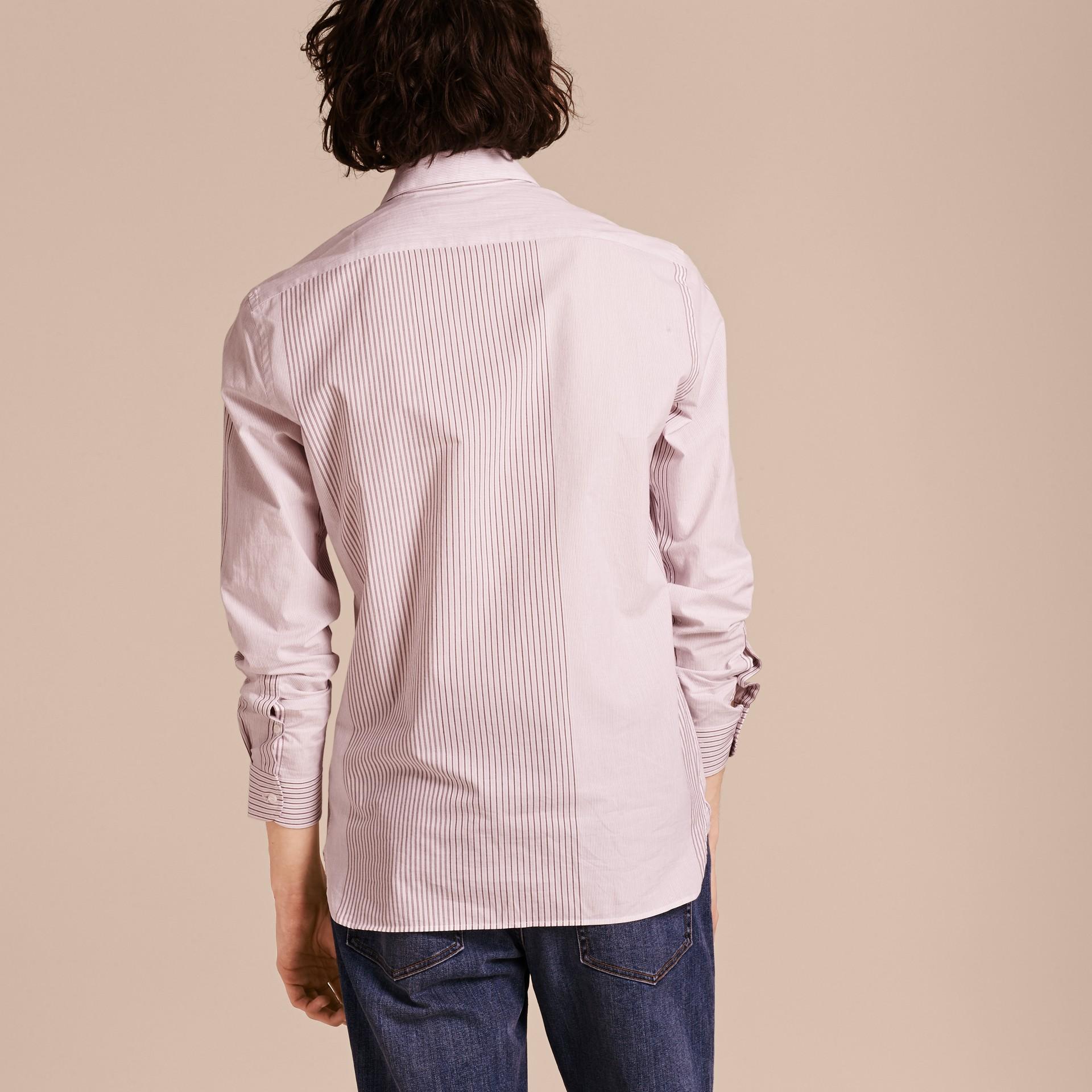 Panelled Stripe Cotton Shirt Rose Pink - gallery image 3