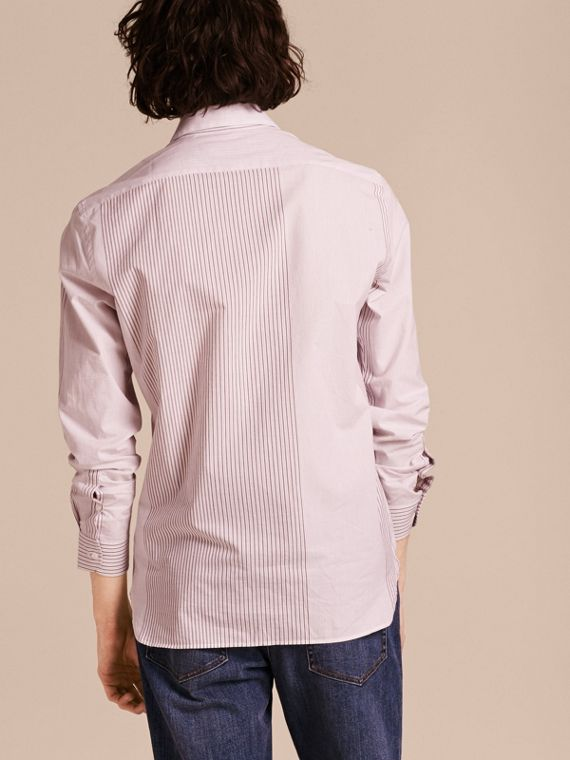 Panelled Stripe Cotton Shirt Rose Pink - cell image 2