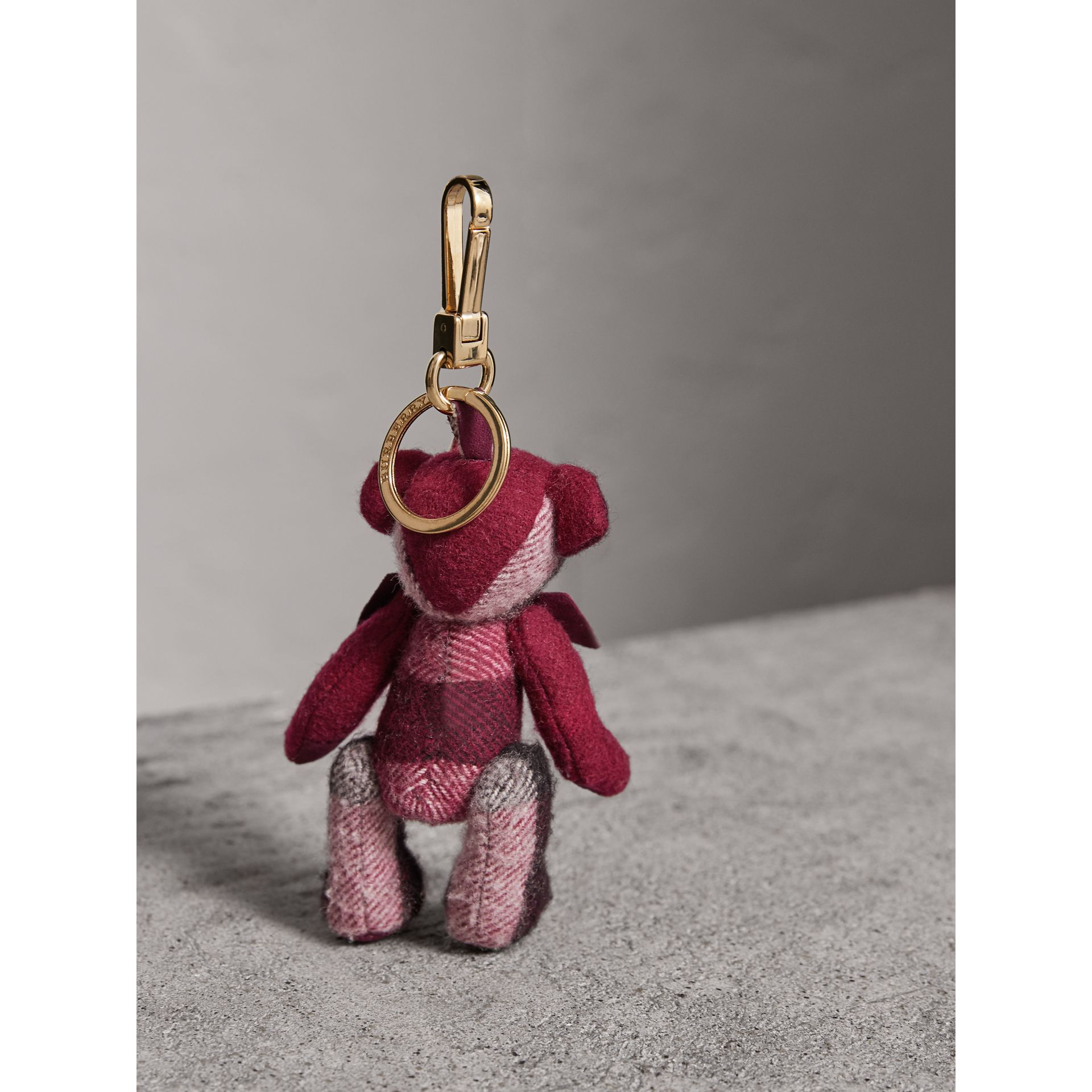 Thomas Bear Charm in Check Cashmere in Plum | Burberry United Kingdom - gallery image 3