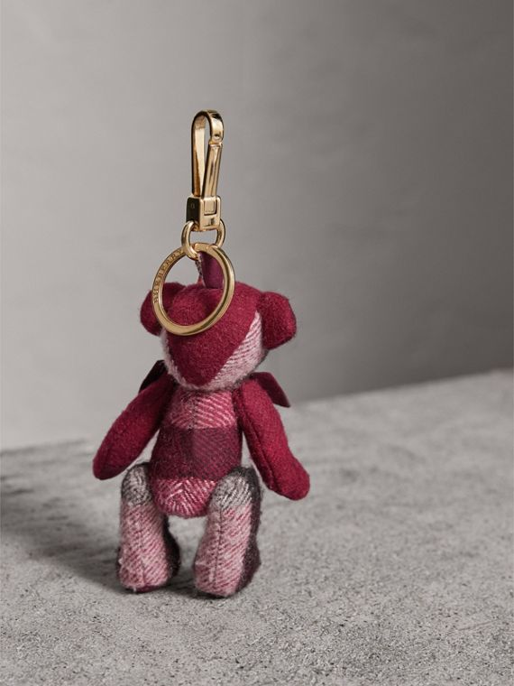 Thomas Bear Charm in Check Cashmere in Plum | Burberry United Kingdom - cell image 3