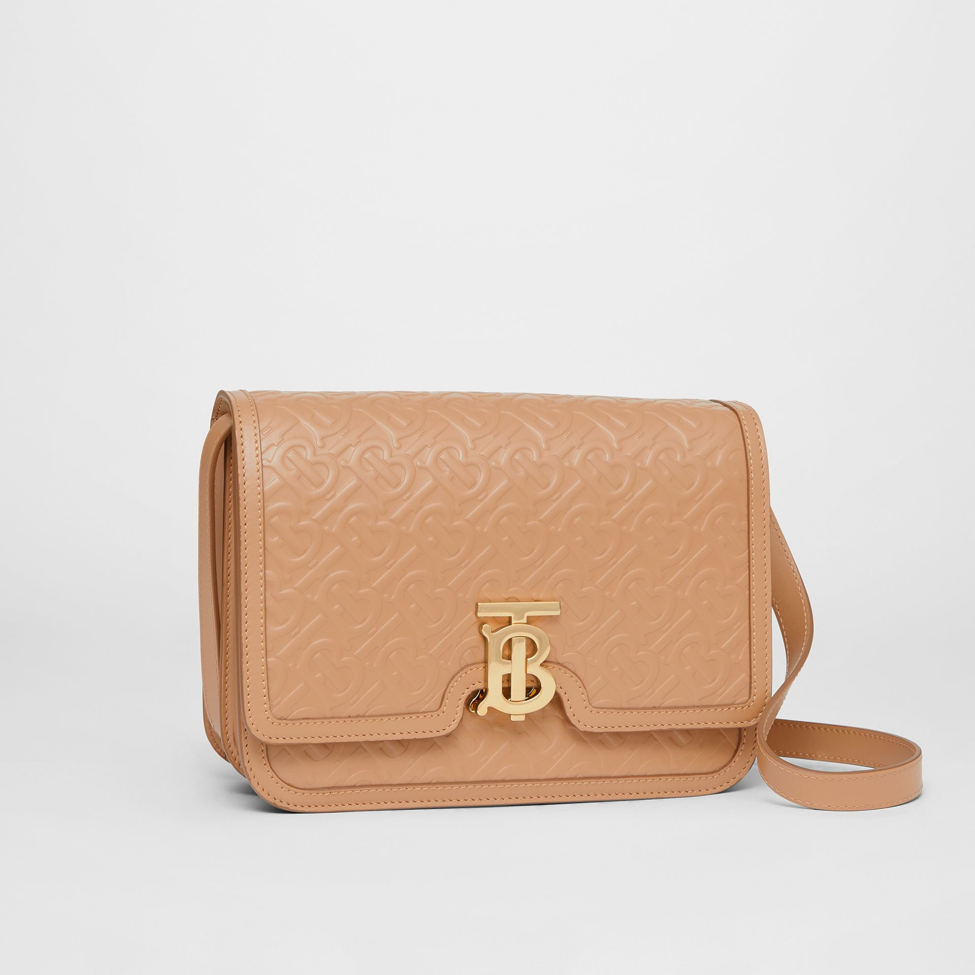 Medium Monogram Leather TB Bag in Light Camel - Women | Burberry Australia - gallery image 6