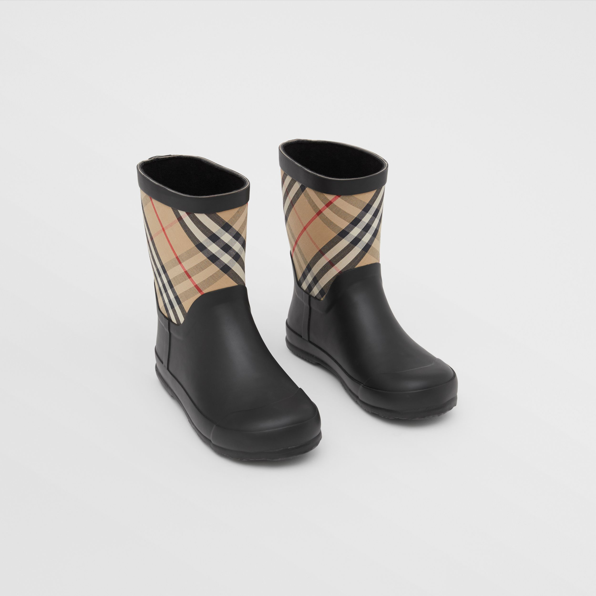House Check Rubber Rain Boots in Archive Beige - Children | Burberry United Kingdom - 1