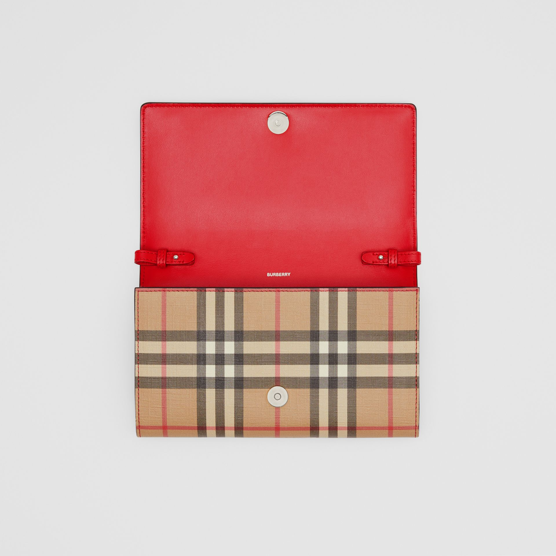 Vintage Check E-canvas Wallet with Detachable Strap in Bright Military Red - Women | Burberry - gallery image 8