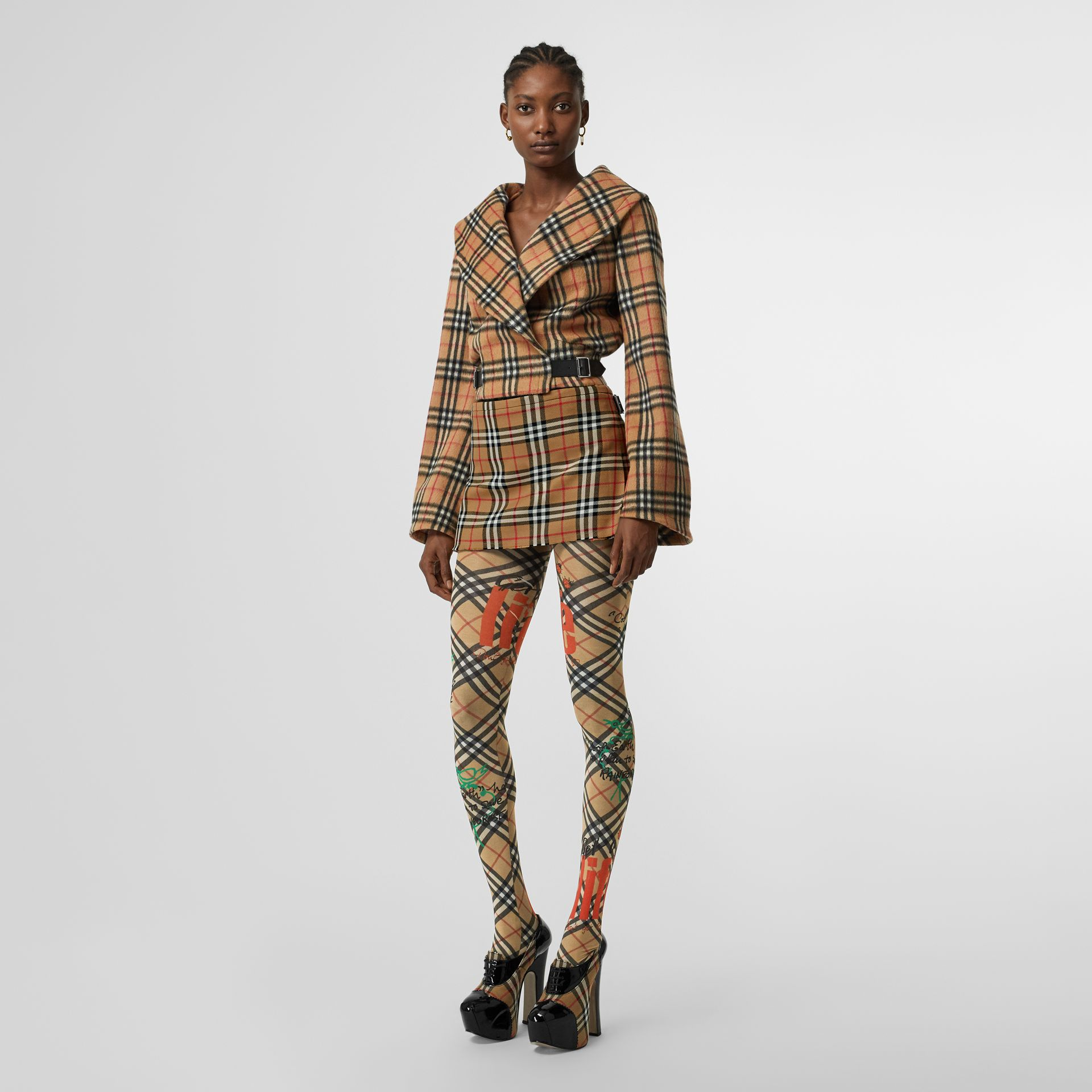 Vintage Check Alpaca Wool Hugger Jacket in Antique Yellow - Women | Burberry Australia - gallery image 0