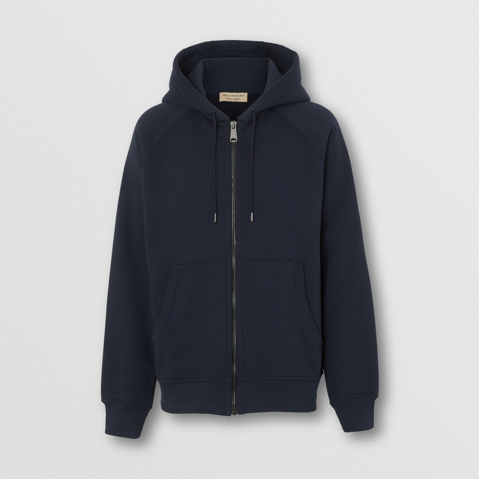 Embroidered Logo Jersey Hooded Top in Navy - Men | Burberry - gallery image 3