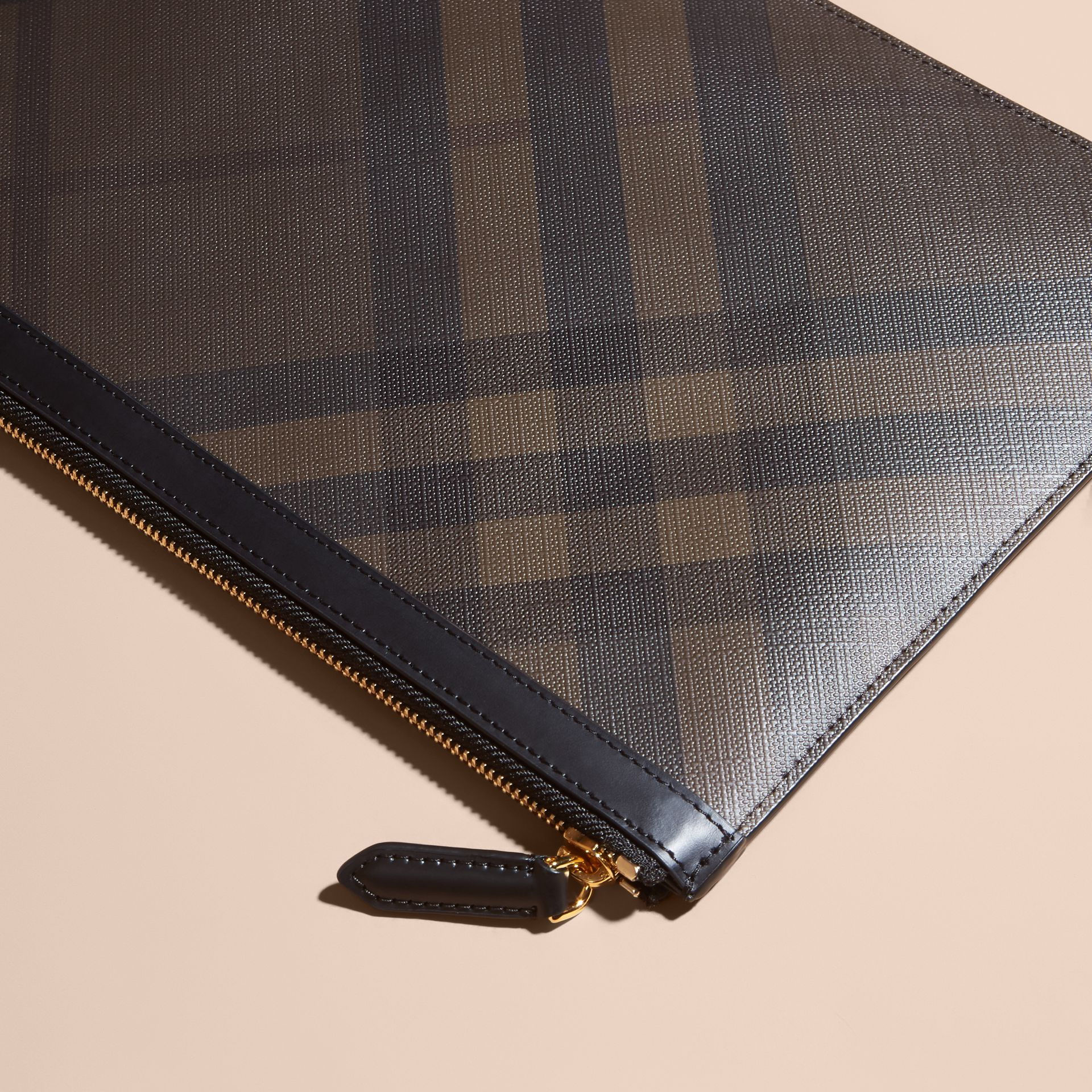 Zipped London Check Pouch in Chocolate/black - Men | Burberry - gallery image 3