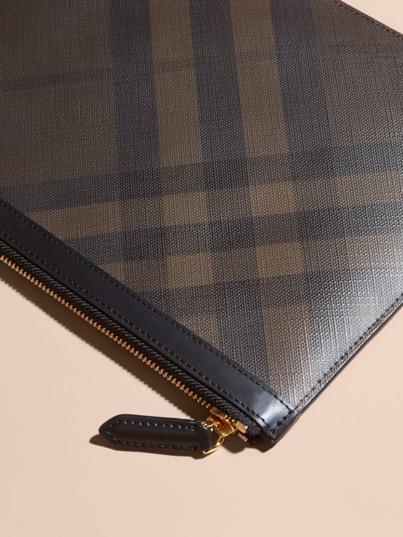 Zipped London Check Pouch in Chocolate/black - Men | Burberry - cell image 2