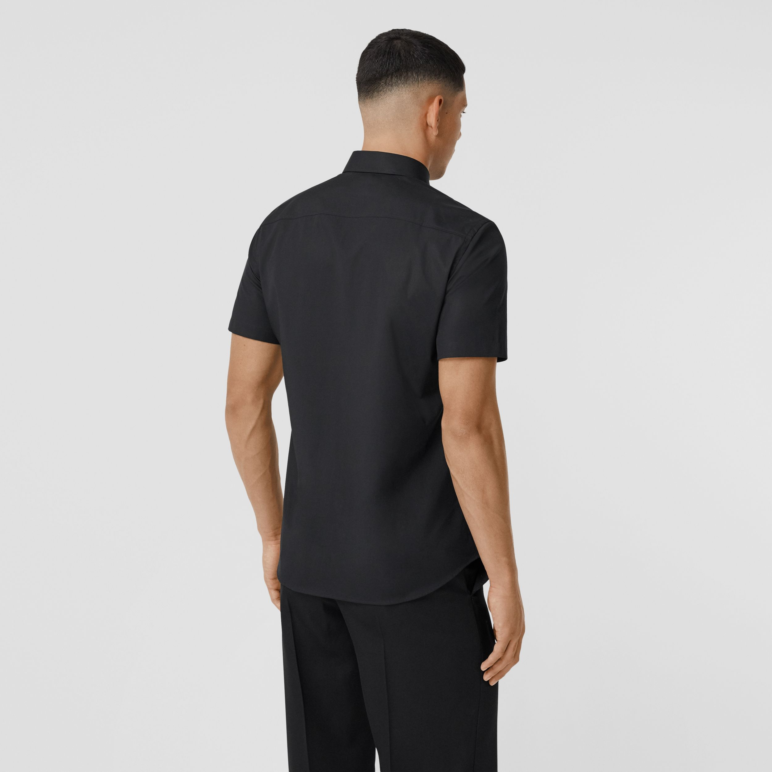 Short-sleeve Monogram Motif Stretch Cotton Shirt in Black - Men | Burberry - 3