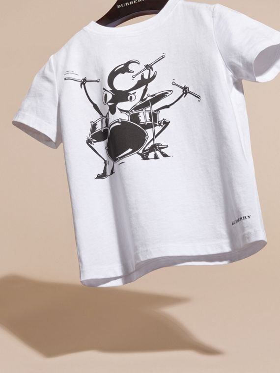 White Beetle Motif Cotton T-shirt - cell image 2