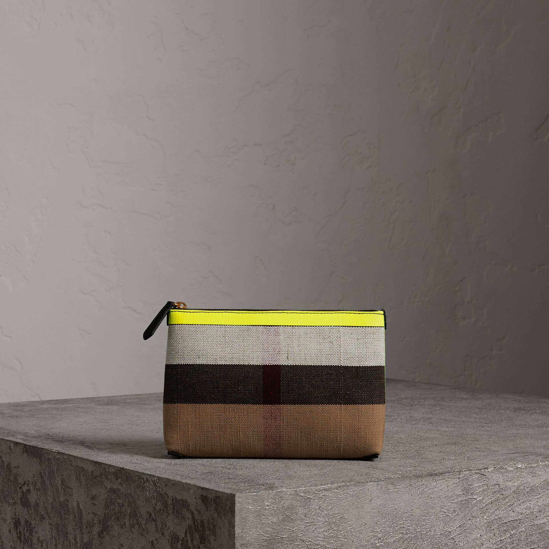 Medium Check Canvas and Leather Zip Pouch in Black/neon Yellow - Women | Burberry - gallery image 0