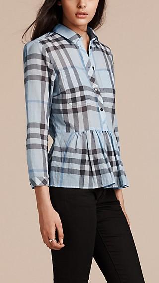 Camisa en algodón con sobrefalda de checks