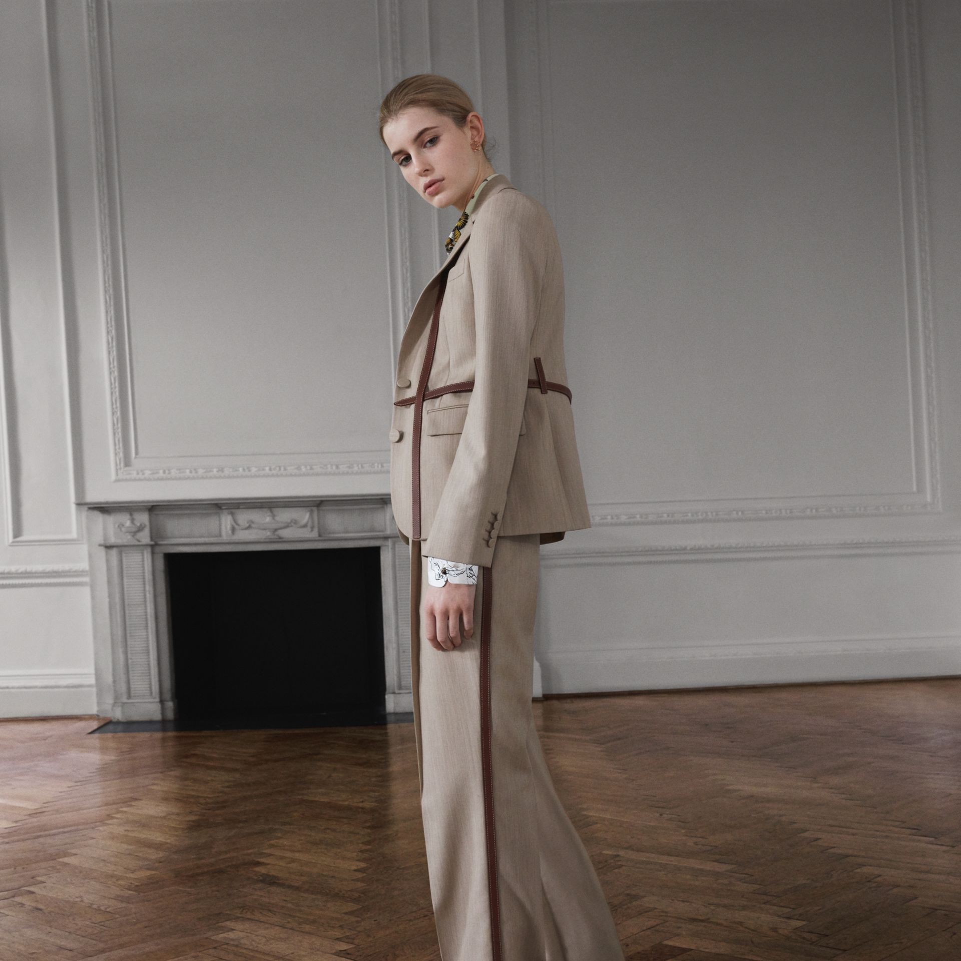 Leather Stripe Wool Tailored Trousers in Camel Melange - Women | Burberry - gallery image 1