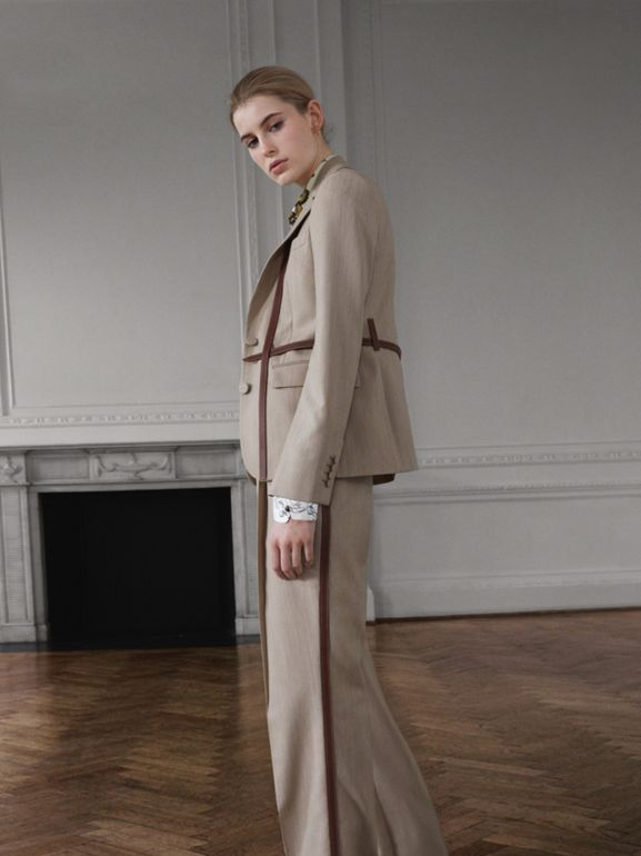 Leather Stripe Wool Tailored Trousers in Camel Melange - Women | Burberry - cell image 1