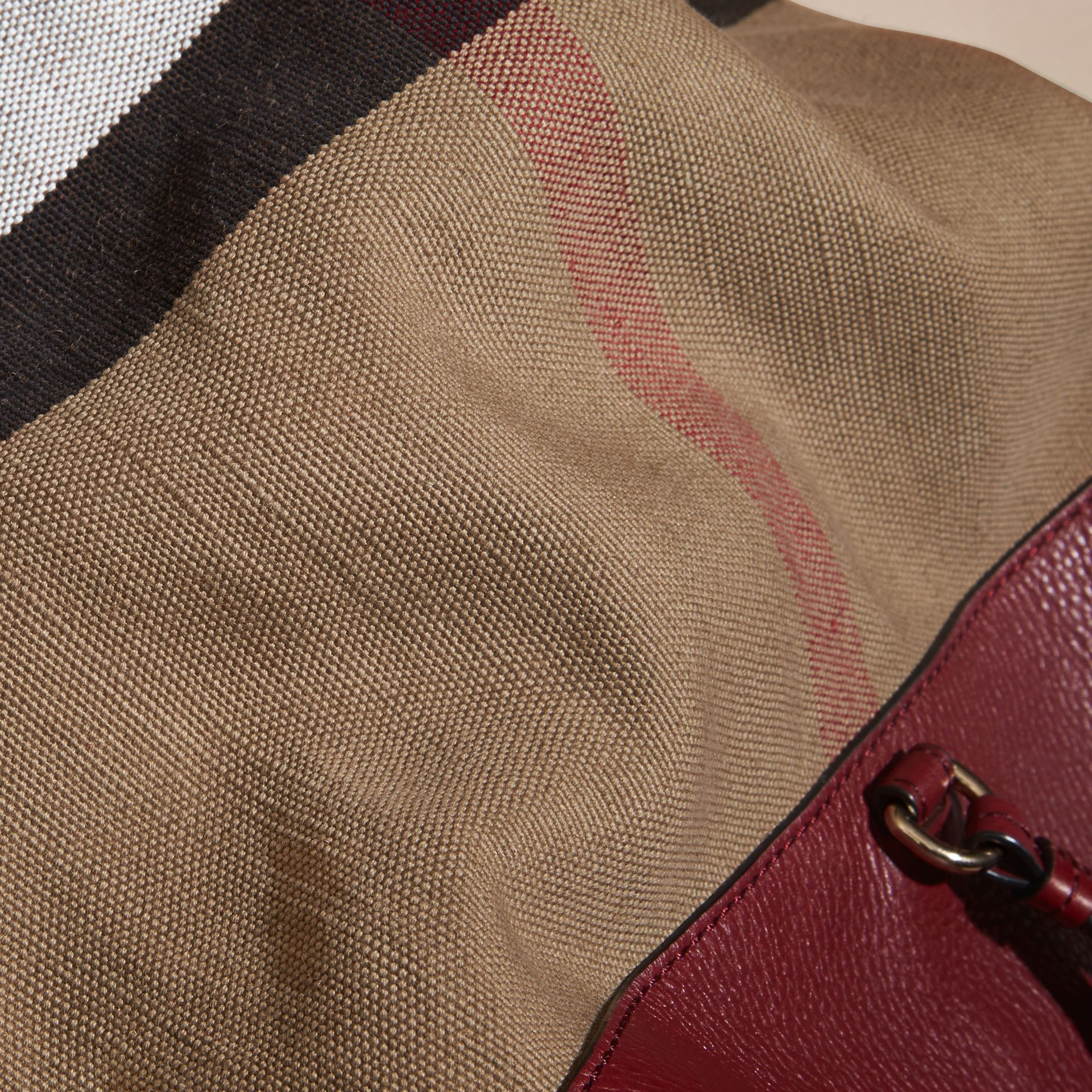 Burgundy red The Medium Ashby in Canvas Check and Leather Burgundy Red - gallery image 2